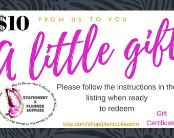 10 Dollar Gift Certificate| Stickers| Gift Certificate| Gift| Printable