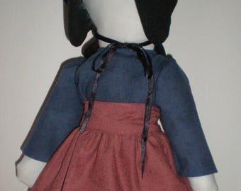 Amish doll No Face,Handgemaakte lappenpop, rag doll met rood schort