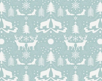 Northern Lights: Arctic Animals on icy blue fabric by Lewis & Irebe