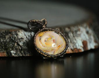 Yellow and Pink Rose Pendant, Oxidized Copper Necklace, Flower Wire Wrapped Jewelry, Resin, Renaissance Festival Jewelry, Floral Wire Wrap