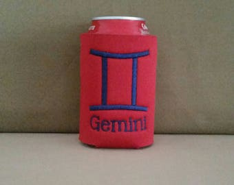 Zodiac Can Cooler, Custom GEMINI Embroidered Can Cooler, Birthday Cozie, Embroidery Cozies, Happy Birthday Cozie, GEMINI Can Cooler