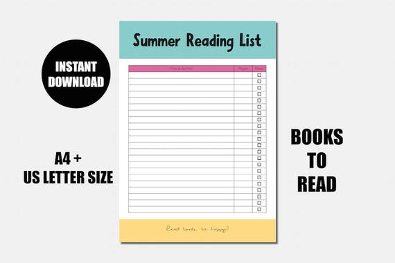Summer reading list - Books to read - Bookish printable - Reading printable - Reading journal - Reading challenge - Reading log - Book list