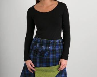 Reversible A Line Blue Black Green Tartan Wool Green Floral Corduroy Skirt with Pocket Long Length