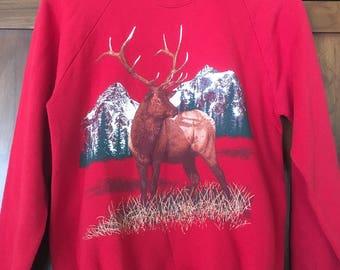 80's Retro Elk Deer Sweatshirt Crew neck sweatshirt Colorado Outdoors Mountain Scene Size Medium