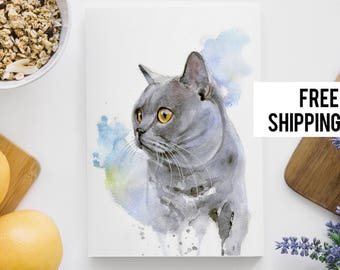 Custom Pet Portraits, Custom Pet Watercolor, Painting from Photo, 8x11, Cat Portrait Watercolour Painting