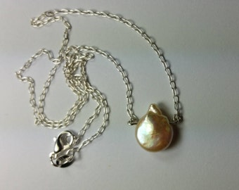 Necklace Sterling silver with freshwater pearl Ivory 11 x 14 mm