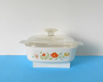 Corning Ware Casserole Dish with Pyrex Glass Lid, Vintage Wild Flowers Corning Ware 1 QT Made in USA Bakeware, Cookware,