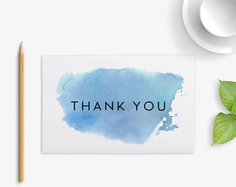 Thank You Card, Watercolour Card, Hand Painted Card, Blue Card, Digital Download, Instant Download, Printable Card, Postcard, 4x6""