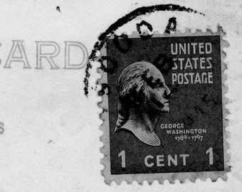 Postcard ART stamp history george washington