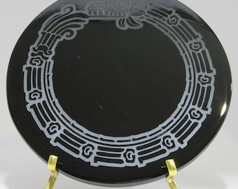 Engraved Black Obsidian Mirror - Feathered Serpent