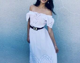 SALE! | Magnolia Dress | 1970s Vintage Eyelet Lace Cut Out Ivory Midi Dress | Size M/L