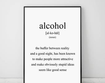 Alcohol, Alcohol Definition, Funny Definitions, Funny Poster, Alcohol Print, Bar Poster, Scandinavian, Club Poster, Humor Print, Witty