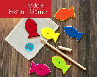 Magnetic Fishing Game for Toddlers - Best Travel Activity for Airplane Travel - Learn Colors - Practice Fine Motor Skills - Educational Toy