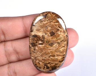 Natural Bronzite Mineral Oval Cabochon Loose Gemstone 27x43x3mm 58 Cts (7700-02)