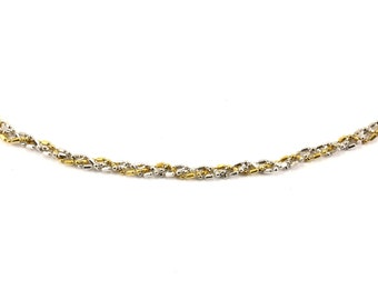 14K Two Color Gold Twisted Design Necklace GNC 123-E