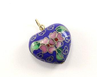 Vintage Floral Design Puffy Heart Enamel Pendant 925 Sterling PD 69