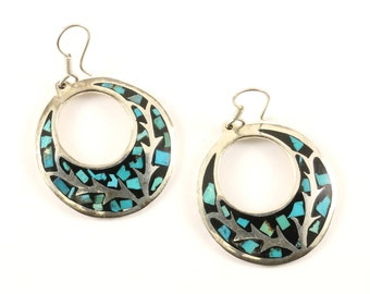 Vintage Round Turquoise Chip Design Drop Dangle Earrings Sterling Silver ER 795