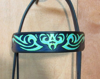 Custom Hand Tooled Western Headstall/Bridle, Horse Tack, Dark Blue w/ Lt. Blue & Lt Green Tribal