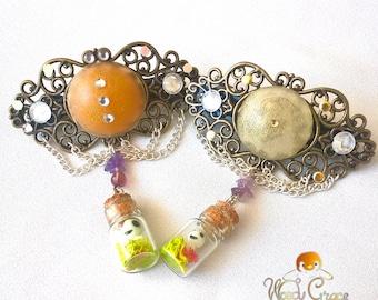 Hairclip inspired Kodama kodama in baroque jar