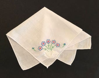 Vintage Embroidered Blue Floral Handkerchief with Lace
