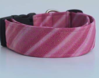 The Meraki : Metallic Floral on Pink, Green and Blue Dog Collar