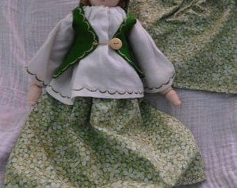 Woodland Ooak Faerie Doll Linen fabric Soft Bodied 13 Inch Doll Waldorf Hand Crafts