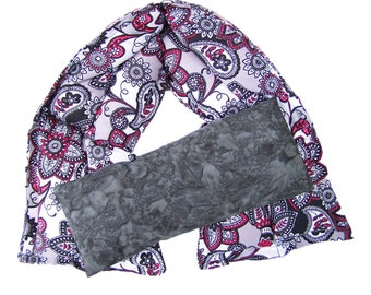Microwave heating pad, Heat therapy, Hot cold neck pack, Massage Therapy,Aromatherapy, Burgundy and Grey Paisley Neck Wrap and Grey Eye Pack