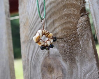Bead and Shell wirewrapped necklace