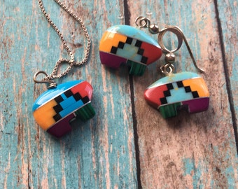 Vintage Native American Necklace and Earring Set