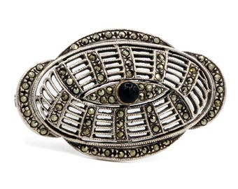 Marcasite And Onyx Brooch, Antique 1930 Jewelry, Art Deco Oval Brooch, 925 Sterling Silver Pin, Sparkling Stones Pin, Old Filigree Brooch