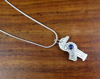 Quirky Sterling Bird with Lapis Gemstone Necklace – Vintage