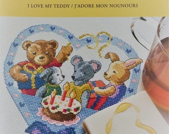 DMC counted cross stitch booklet - I Love My Teddy