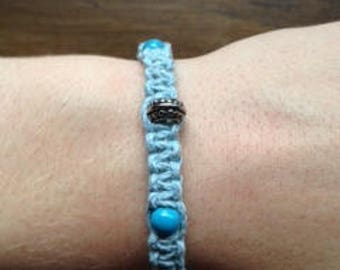 Turquoise and Hemp Bracelet with Silver beads