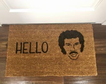 """Lionel Richie """"Hello"""" Door Mat"""