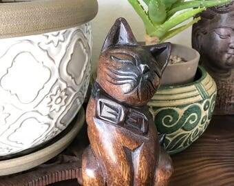 Vintage wood carved cat