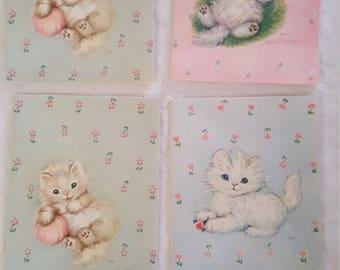 Little Kitten Vintage Note Cards-Unused-Blank-by artist Hope Champion