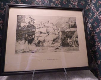 1938 The Ark Royal Spanish Armada Defeated, Norman Wilkison Etching