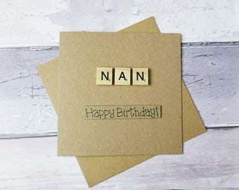 Scrabble birthday card, Handmade card for Nan, Nana, Grandma, Happy Birthday card, Scrabble tiles greetings card, Wooden alphabet tiles