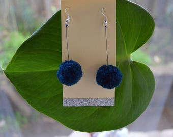 Navy Blue Pom Pom Earrings