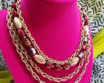 Magnificent Multi-Strand Necklace with Gold Tone Chains and Red Glass Beads