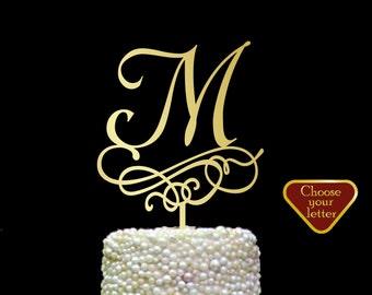 Letter M cake topper, letter cake toppers for wedding, Wedding Cake Topper Letter,  Single Letter Cake Topper, Monogram Cake Toppers, CT#206