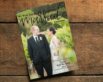 We Wish You A Married Christmas, wedding christmas card, married christmas card, first christmas card, wedding photo card