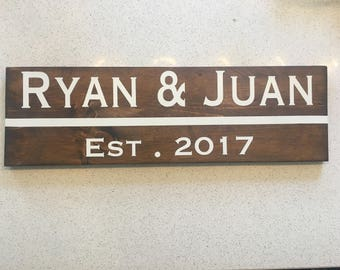 Family sign with year established, first names, traditional, personalized, wedding, anniversary, unique gift, year married, housewarming