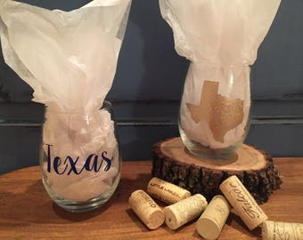 Custom Texas Stemless Wine Glass/Personalized Wine Glass/Personalized Gift/Stemless Wine Glass/Texas State Wine Glass/Custom State Wine