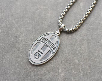 Football Juventus silver pendant, football club symbol, old Signora, Vecchia Signora, Magica Juve, solid sterling silver, gift for men