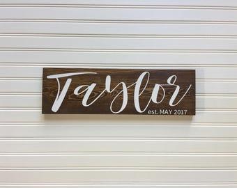 Rustic Wedding Signs, Wood Wedding Sign, Wedding Gift, Wedding Signs, Established Sign,  Wood Name Sign Rustic, Last Name Sign, Name Sign