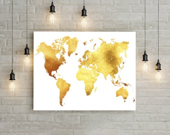 Handmade world map print gold etsy gold world map print gold glitter wall art world map wall art travel wall decor world gumiabroncs Image collections