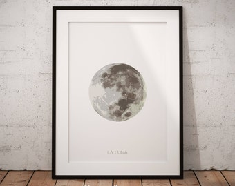 La Luna, Moon Print Art, Full Moon Print, Moon Poster, Full Moon Wall Art, Lunar Art Print, Lunar Phase, Moon Phase Decor, Lunar Phase Art