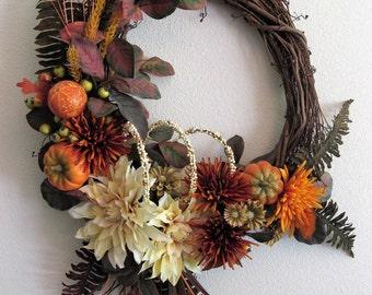 Autumn Grapevine Wreath Cream Dahlias Rust Mums Deep Yellow Mums Wheat Green Zinnias Berries Orange Gourds Pumpkins Dark Ferns Foliage