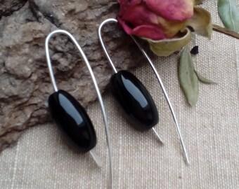 Silver black hoop basic simple everyday rustic elegant minimalist modern urban earrings gift